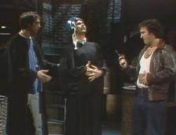 Dan Aykroyd (center) with Chevy Chase and John Belushi in 'Saturday Night Live' (Feb. 28, 1976)