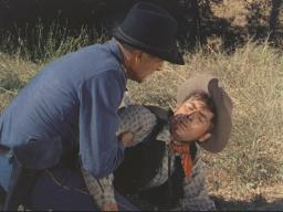 Fess Parker (with Randolph Scott) in 'Thunder Over the Plains'