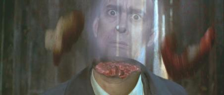 Jeffrey Combs' headless body and ghostly head in 'The Frighteners'