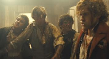 Killian Donnelly (with Fra Fee, Hugh Skinner, and Aaron Tveit) in 'Les Miserables'