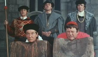 Terry Scott (right) and Kenneth Williams (left) before their off-camera deaths in 'Carry On Henry'